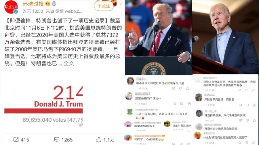中共官媒一改常态追踪报导美国大选计票差异,但中国网友不买账(图片来源:微博合成)