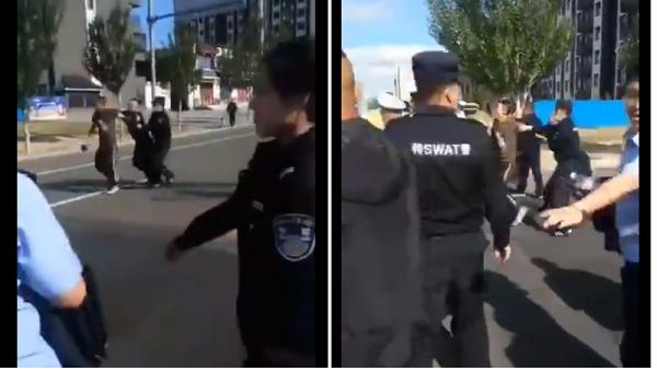 警察在内蒙古街头抓捕、殴打抗议民众。(图片来源:视频截图)