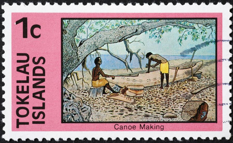 托克勞郵票上的獨木舟製作圖。