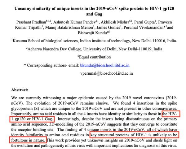 """印度科学家发现了""""武汉肺炎""""病毒(2019-nCoV)被人工插入病毒蛋白。2"""