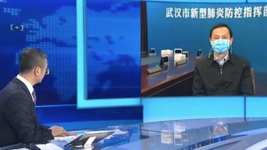 武漢市委書記馬國強接受央視採訪的資料圖片