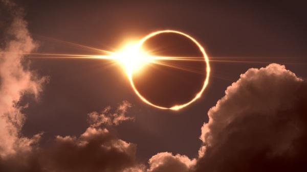 在日全食中可看到日冕。