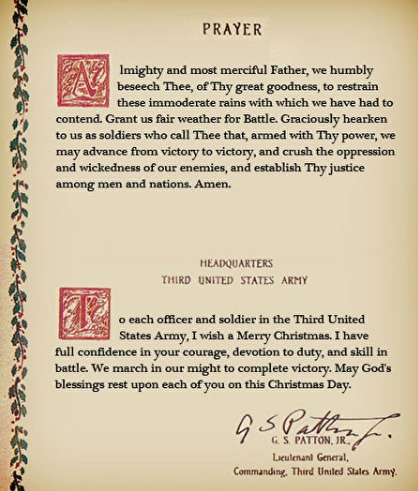 巴顿将军祷告词已加载史册。