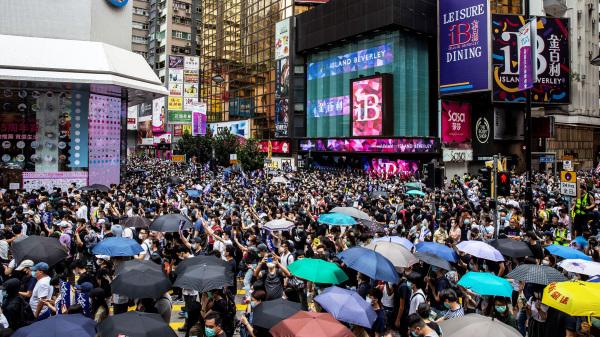 �狄匀f�香港市民�L日在�~��骋��⑴c「5.24 反�悍ù筮[行 」,抗�h北京欲��行在香港��施��安法。(�D片�碓矗�Anthony Kwan/Getty Images)