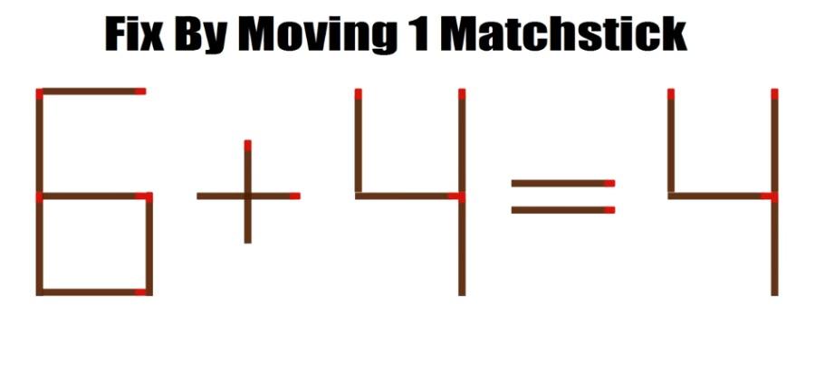 """这题""""6+4=4""""是错的答案,只要移动""""一根火柴""""就是正确答案。"""