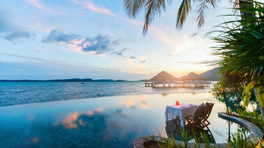 风景美丽的私人岛酒店。