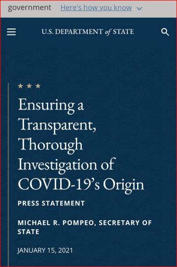 美国务院发布最新声明,有理由相信武汉病毒所是中共病毒源头